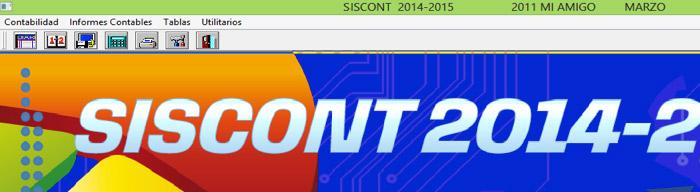 Logo de pantalla, versión y mes en la parte superior dentro del botón Contabilidad